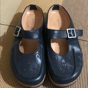 Hafinger Royal Blue Leather Mules Clogs EUC